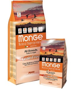 Monge Grain Free All Breeds  adult Con Anatra E Patate 2,5кг