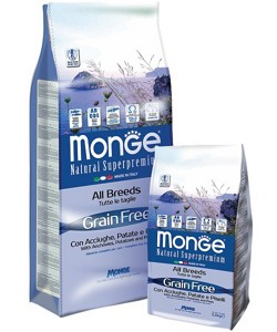 Monge Grain Free All Breeds  adult Con Acciughe, Patate E Pisselli 2,5кг
